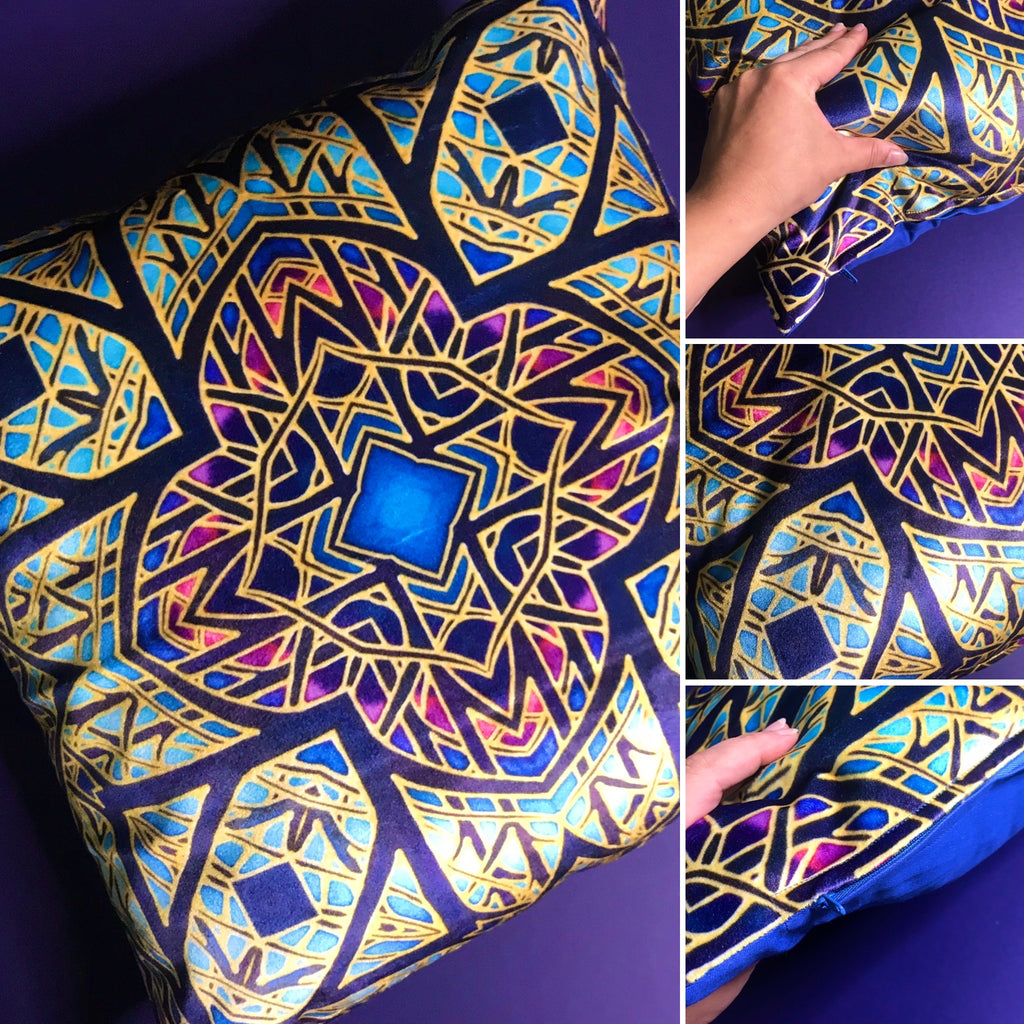 Rose Window Designer Cushions in Luxurious Velvet - Pink, Purple & Blue Dramatic Throw Pillow