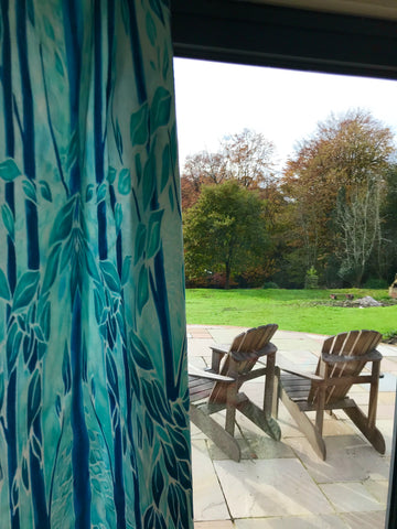 Turquoise Blue Trees Designer Luxury Velvet Curtain Fabric by the Drop Length Needed