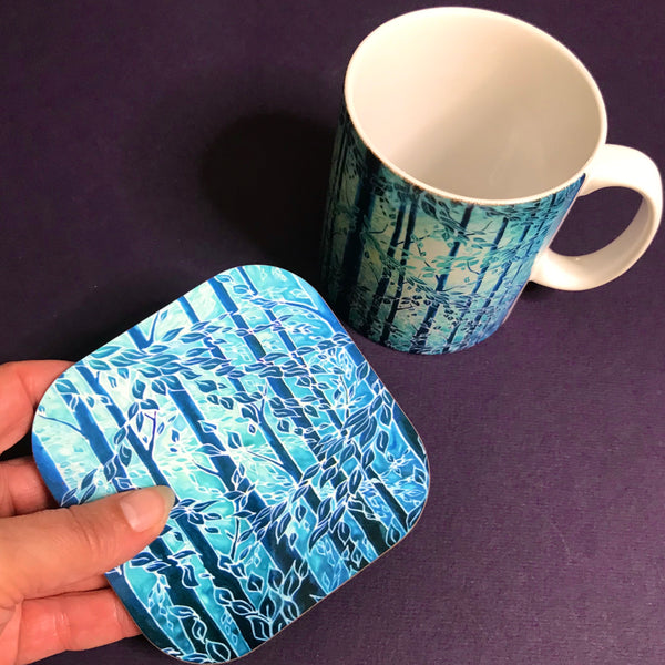 Mint Teal Trees Mug - Woods Mug Box Set -  Blue Teal Turquoise Mug