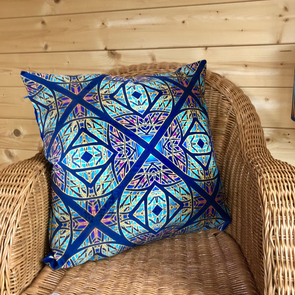 Star Cross Luxury Velvet Cushion - Dramatic Throw Pillow -Colourful Living Room Decor