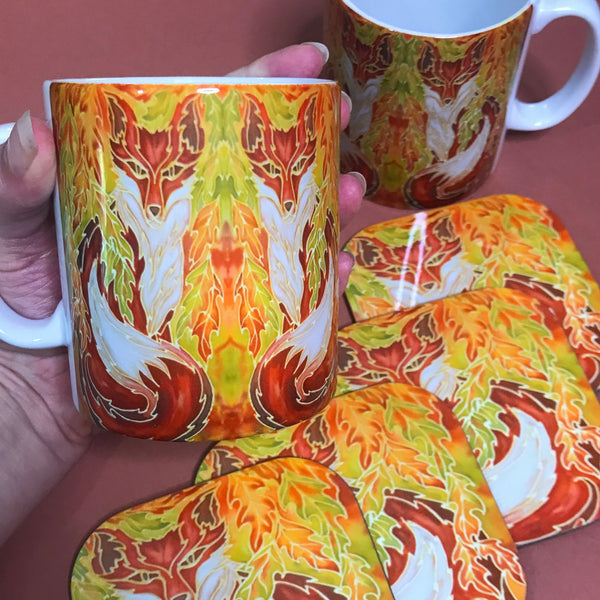 Fox in Oak Leaves Mug & Coaster - Fox Mug Box Set - Green Terracotta Yellow Fox Mug - Fox Lovers Mug Gift