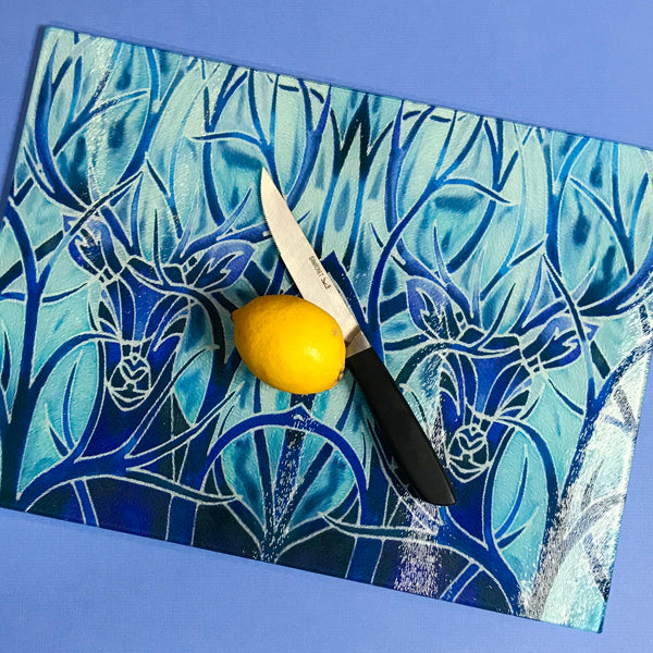 Blue Stag Glass Chopping Board and Heat Proof pot stand - Trivet - platter counter saver