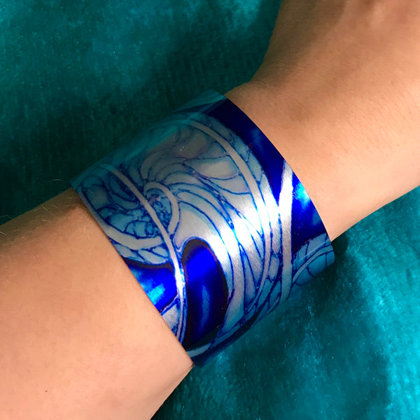 Nautillus Shells Cuff Bracelet - Comtemporary Statement Bracelet - easy wear lightweight aluminium.