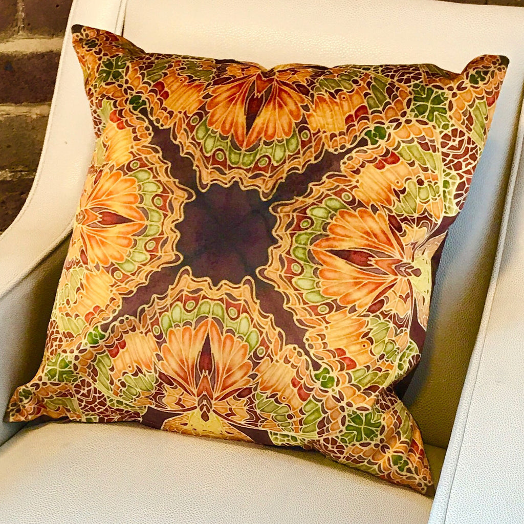 Green Terracotta Velvet Cushion - Luxury Velvet Moth Cushion - Green Rust Butterflies pillow