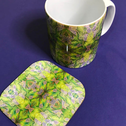 Moss Green Pine Cone Mug and Coasters - Green Mug Set - Kaleidoscope Pine Cones Mug Gift