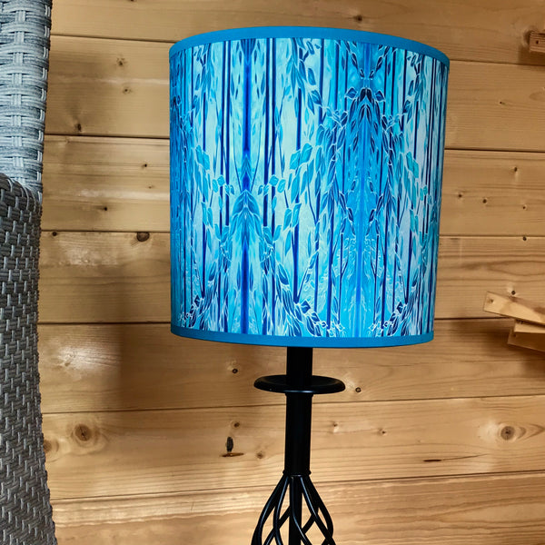 Into the Woods Contemporary Floor Lamp  - Tranquil Light Art Lamp - Blue Turquoise Aqua trees Lamp