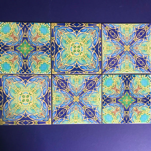 Italian Style Flowers Mixed Tiles Set - Blue Green Gold Tiles - Beautiful Bohemian Tiles