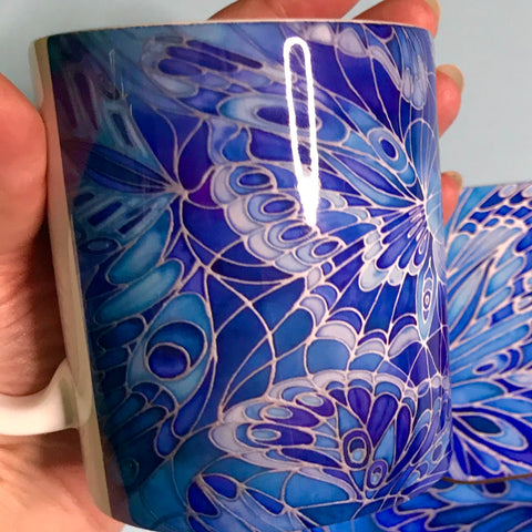 Blue Butterfly Mug and Coaster - Butterfly Mug Box Set - colours