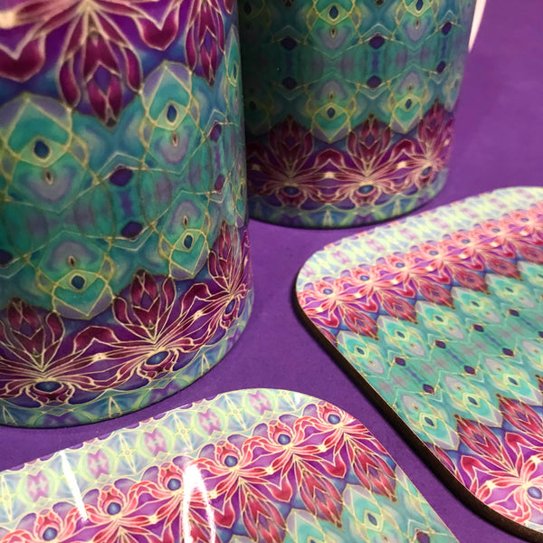 Persian Orchid Mug and Coaster Box Set or Mug only - Turquoise Purple Mug Set - Persian Orchid Mug Gift