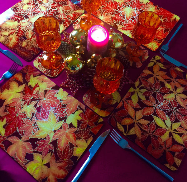 Horse Chestnut Leaves Placemats - green rust table mats & coasters - Leaves Chopping Board