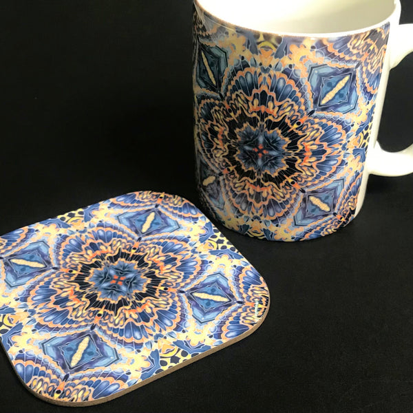 Gorgeous Orange Grey Blue Kaleidoscope Mug and Coaster box set only - Contemporary Mug Set - Grey Blue Orange Mug Gift