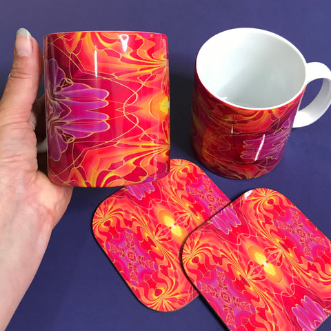 Bright Pink and Red mug and coaster set or mug only - Colourful Mug Set - Red pink Mug Gift