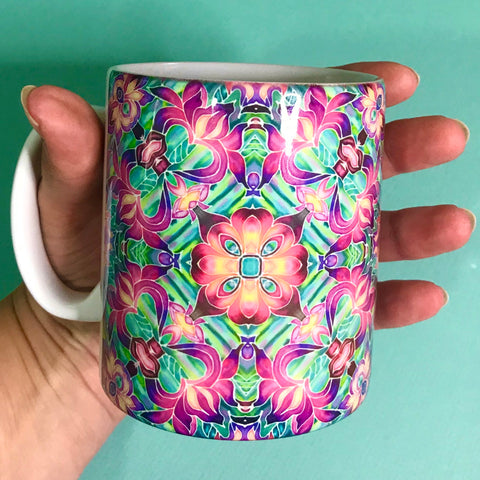 Kaleidoscope Flower Mug In Pink, Purple  and Green - Mug gift set
