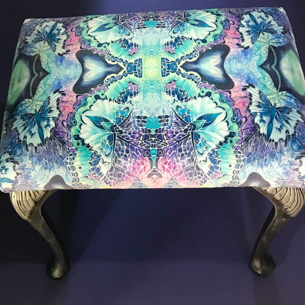 Luxury velvet dressing table stool - Footstool or Piano Stool- one off Bespoke Upholstery.