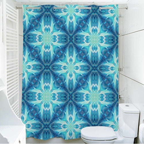 Diamond Dolphins Shower Curtain - Ultramarine and Aqua