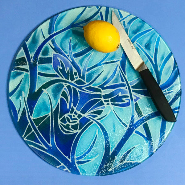 Sunset Elephants Glass Chopping Board - Stag Trivet - Blue Pot stand - Heat Proof Table Top saver - Decorative platter