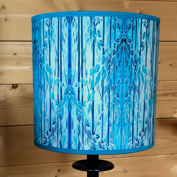 blue teal trees lampshade - made to order lampshades