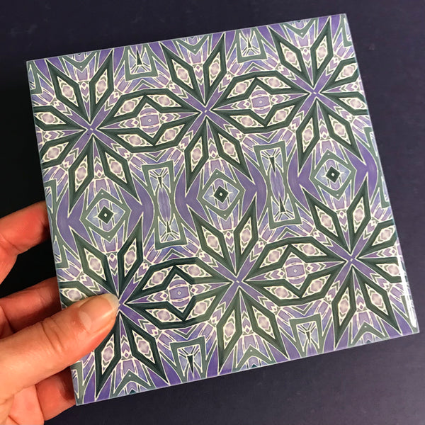 Contemporary Charcoal and Lilac Nordic Star Ceramic Tiles -  Ceramic Hand Printed Tiles