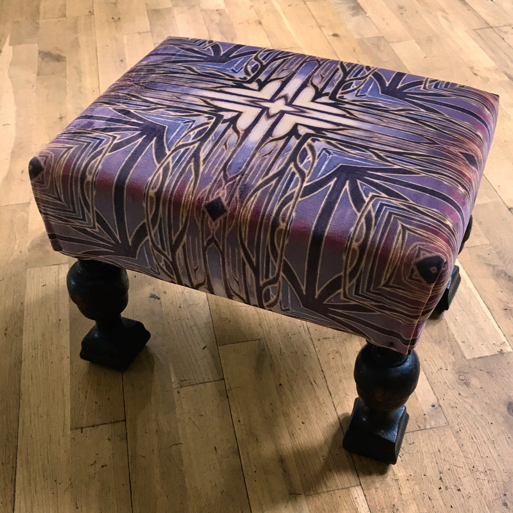 Luxury velvet chunky legged  Footstool - one off Bespoke Upholstery.