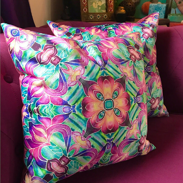 Pink Irises Velvet Cushions - Purple Irises Throw Pillow - Luxury Flower Cushion