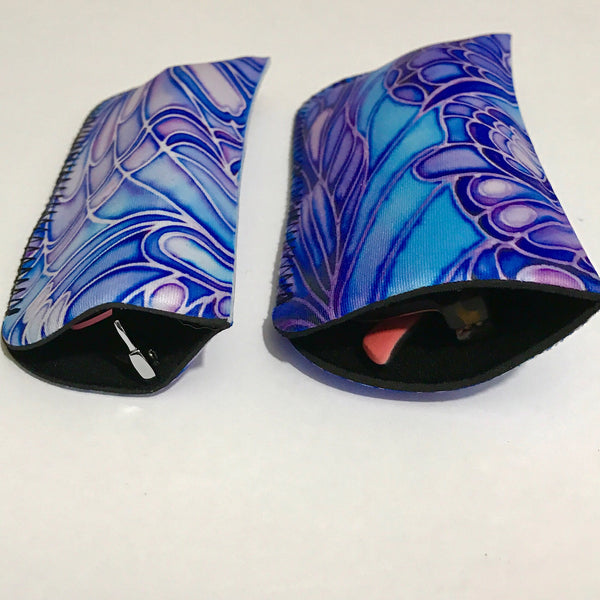 Blue Butterflies Glasses Cover - slip-on padded cover for glasses - Reading or Large Glasses Case