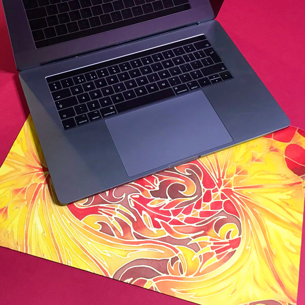 Fiery Dragons extra large mouse mat - Dragon lap top mat- Table Protector Mat