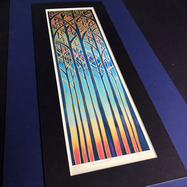 Cathedral Trees Signed Print - Blue Purple Turquoise Red Forest Print Art