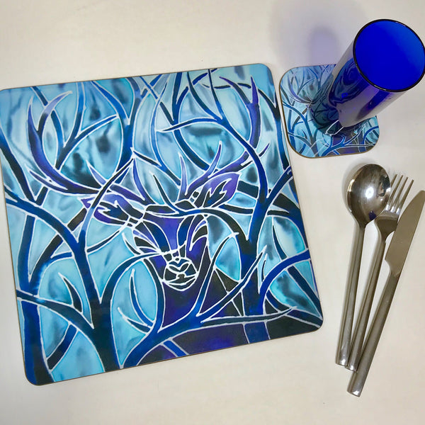 Square Stag Place Mat - Blue Stag Table Mats and Coasters