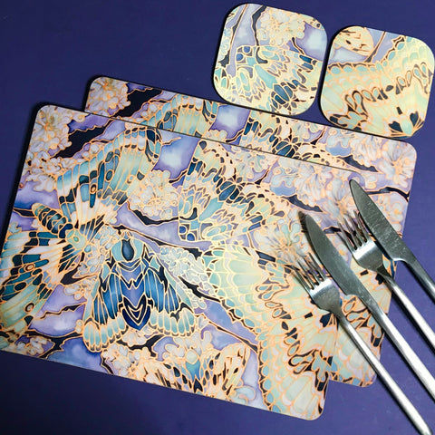 Moths on Lichen Placemats - Green Table Mats & Coasters - glass chopping boards