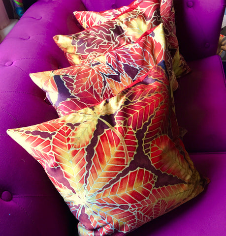 Autumnal Leaves Cushion Set - Reds Yellow Velvet Cushions - Four Leaves Designs by Meikie