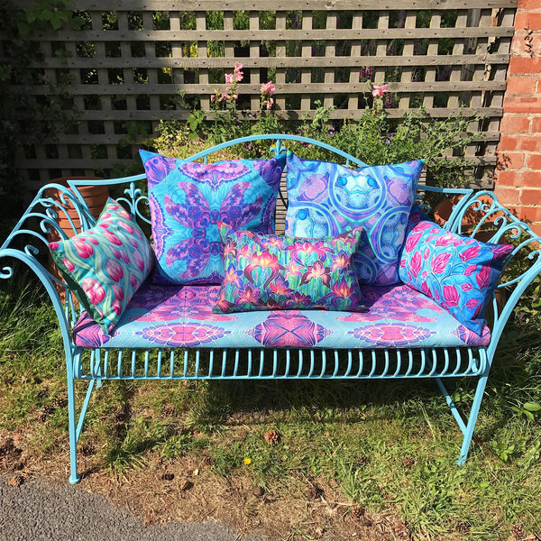 Pink Tulips Showerproof Cushion - Showerproof Garden Cushions - pink and mint green colours