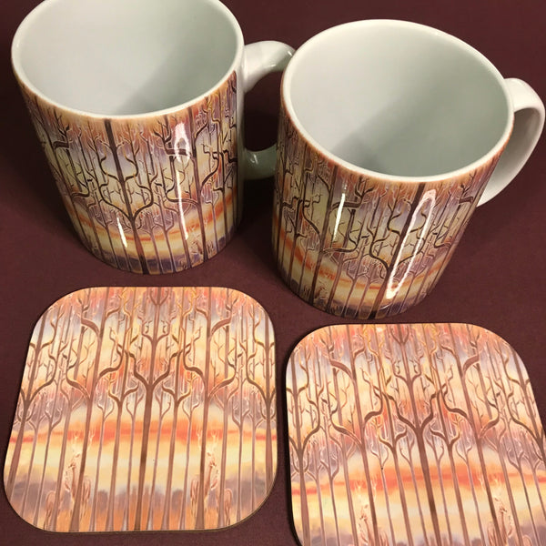 Deer in the Woods Mug and Coaster Box Set or mug only - Caramel Mug Set - Stag and Deer Mug Gift