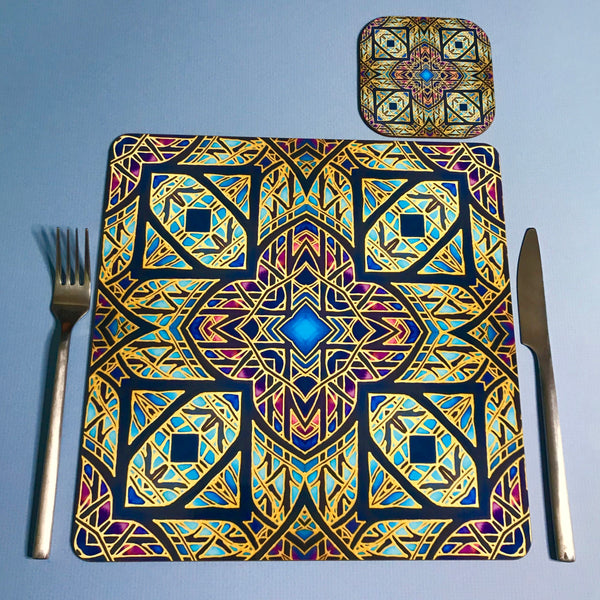 Cathedral Rose Window Square Table Mats & Coasters - Table Mats