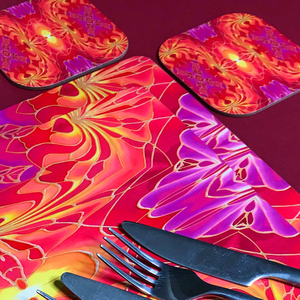 Dramatic Bright Pink Red Yellow Orange Placemats & Coasters - Red Pink Orchid Table Mats