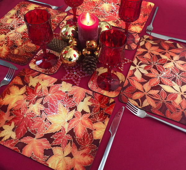 Oak leaves Table Mats - Red Yellow Placemats & Coasters - heatproof glass chopping boards