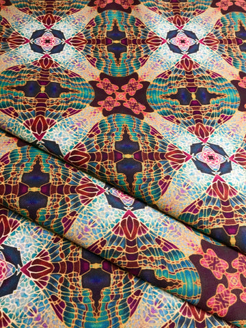 Teal Green Red Lime Gold 'Butterfly Bauble' Designer 100% Cotton Satin fabric for curtains, upholstery and soft furnishings