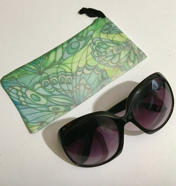 Mint Butterflies glasses case - slip-on padded glasses cover  - Reading Glasses Cover Butterflies