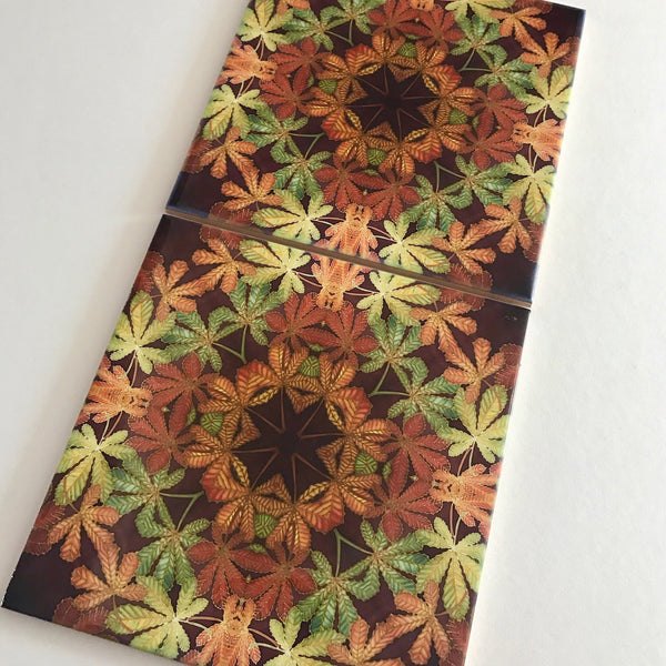 Contemporary Tiles Mixed Leaves - Green Rust Chocolate Leaves Tiles - Beautiful Ceramic Tile - Bohemian Tiles