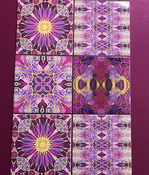 Bees and Flowers Mixed Tiles Set - Plum Purple Gold Tiles - Beautiful Tile - Bohemian Tiles