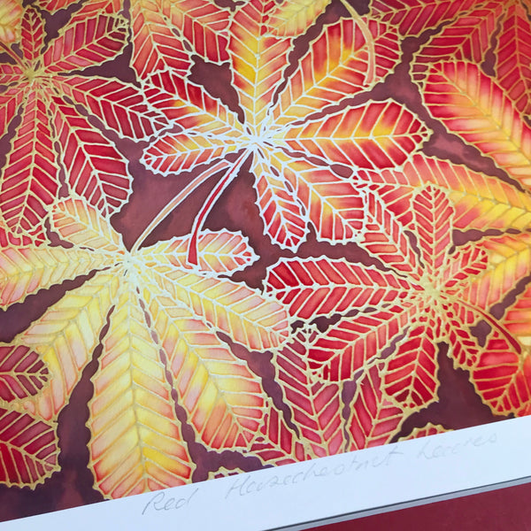 Autumnal Horsechestnut Leaves Print -  Ref Yellow Leaves Art Print - Red Yellow Red Print