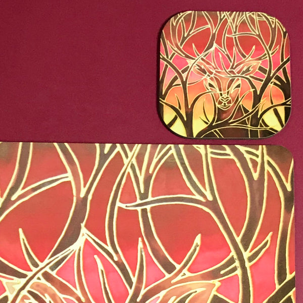 Sunset Red Glass Chopping Board - Elephant Family Trivet - Gold Pot Stand - Heat Proof Table Top Saver - Decorative Platter