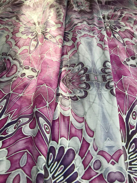 Lilac, Pink and Grey Butterfly Designer Luxury Velvet Curtain Fabric - for Upholstery and Soft Furnishings Too!