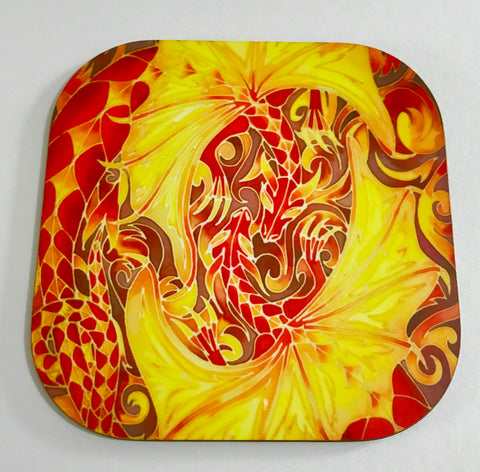 Red Dragon Coaster - Mythical beasts Coaster - Dragon Drinks Mat
