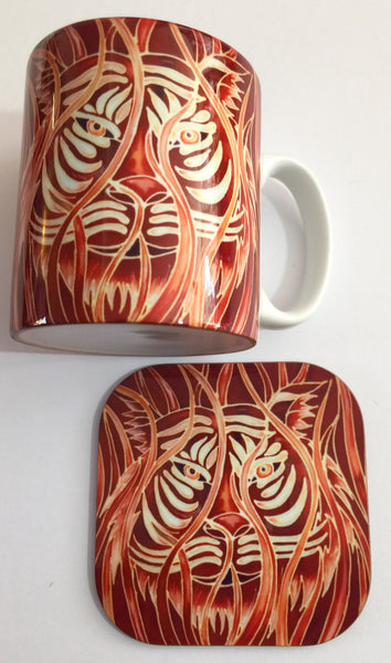Tiger Mug & Coaster - Tiger Mug Box Set - Majestic Tiger Mug - Wildlife Lovers Mug Gift