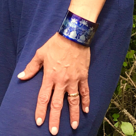 Elephant Bangle in Blue - Elephant Cuff Bracelet - Contemporary Cuff Bracelet Blue - Meikie Designs