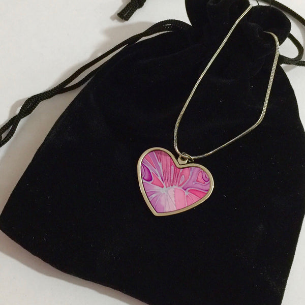 Pretty Pink Butterfly Necklace - Circle or Heart Necklace - Affordable gift