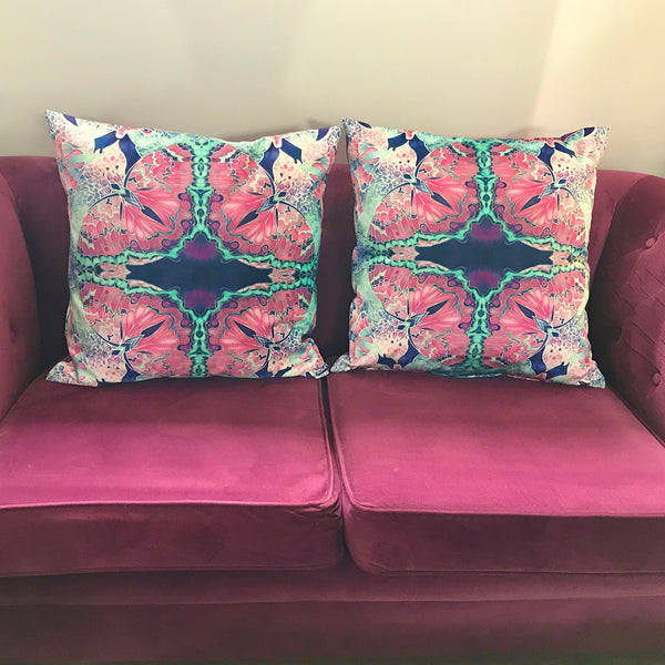 Pink Butterfly Pure Velvet Cushions, High Quality Decor Throw Pillows