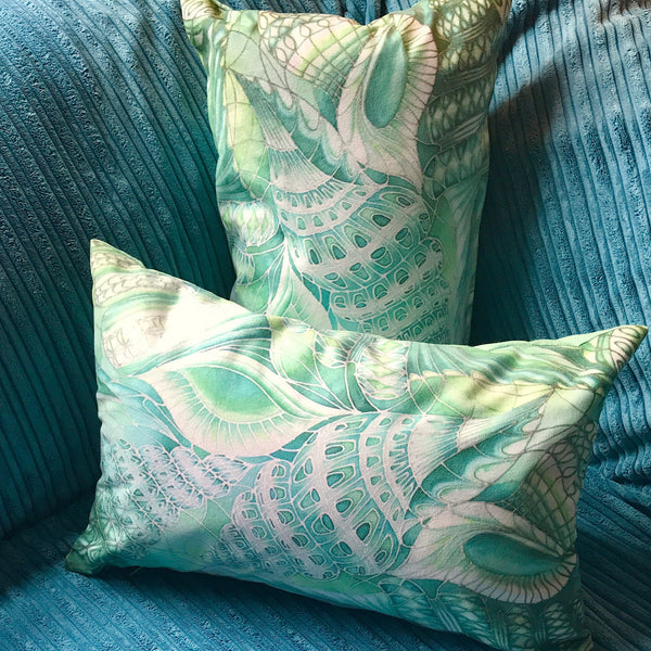 Mint Green Shells Cushion - Green Turquoise Throw Pillow - Sea Shells Accent Pillow