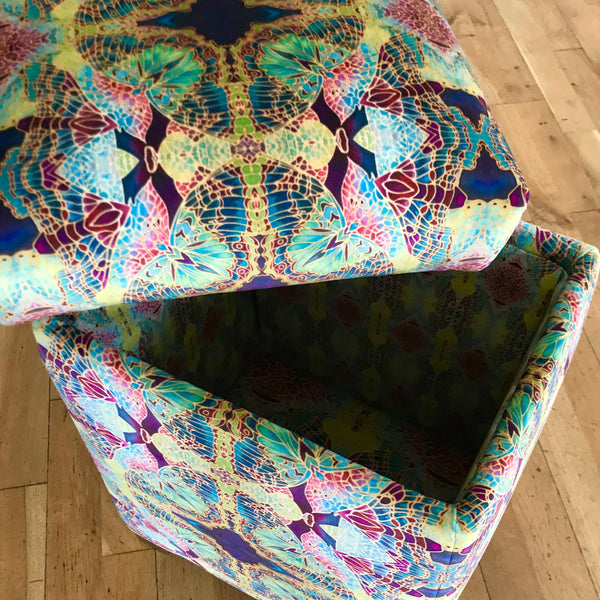 Sumptuous luxury velvet footstool with storage -  green velvet stool with storage - one off Bespoke Upholstery.