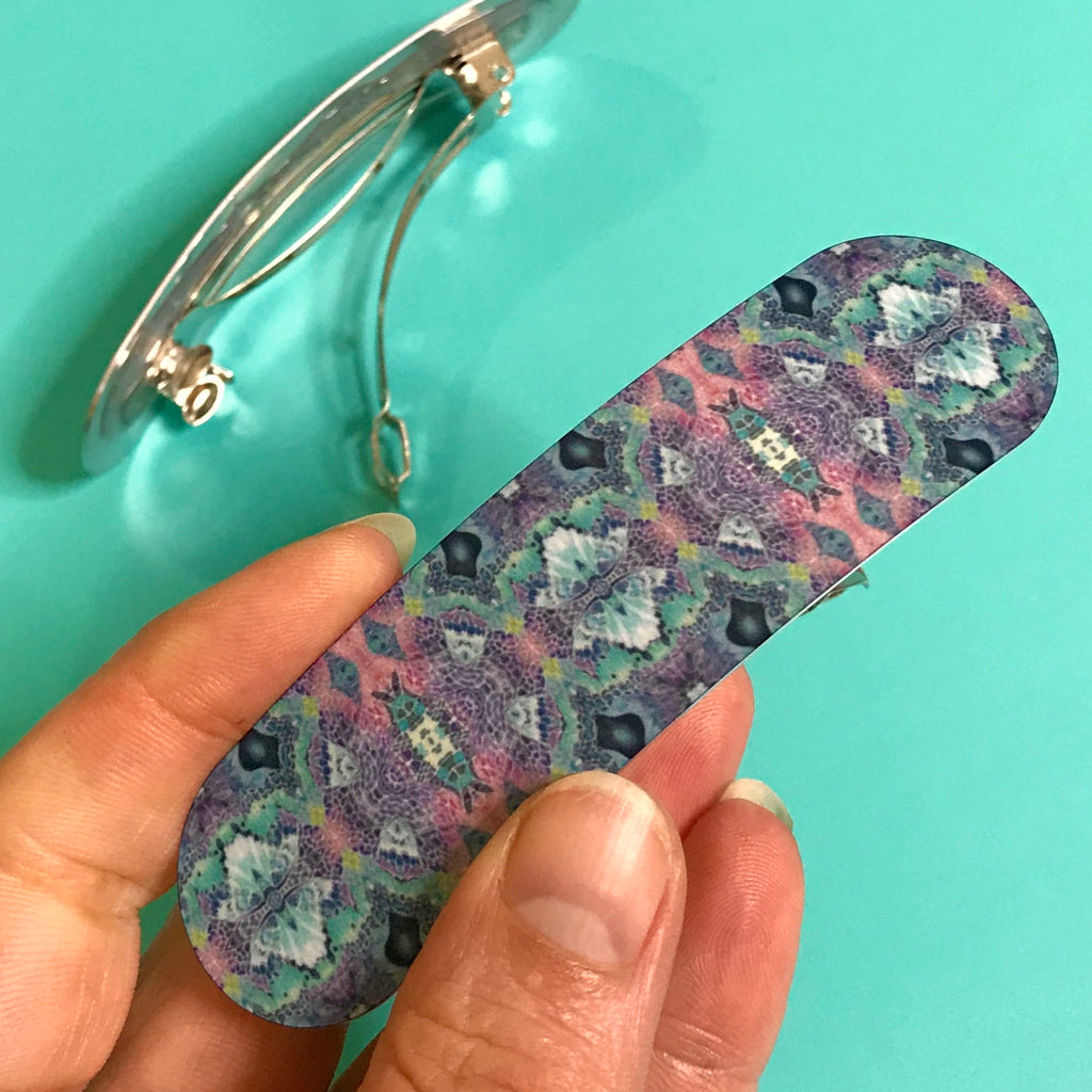 Mosaic Pattern Hair Slide in Charcoal Lilac & Mint, Designer Hair Clip